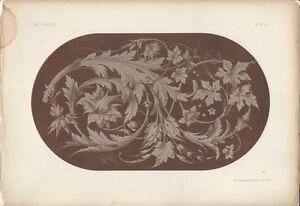 1866 Design Lithograph of Renaissance Scrolls by Michel Joseph Napoleon Lienard