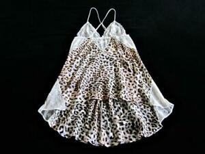 Victoria's Secret SILK Chemise S Sheer Lace Bodice Sexy Low XX Back Leopard NEW