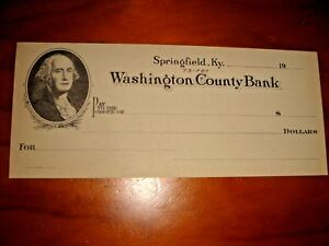 USA Washington County Bank, obsolete blank check, UNC
