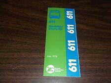 MAY 1979 CHICAGO RTA ROUTE 611 MUNDELEIN BUS SCHEDULE