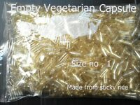 EMPTY VEGETARIN CAPSULES CAPS CLEAR KOSHER HALAL SIZE NO1( 250 mg )PURE REMEDIES