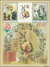 1999 NEW ZEALAND Pets M/S Opt China '99 MNH