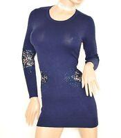 MAGLIONE BLU maglietta donna lunga maxi pull manica lunga pizzo strass zip Z3