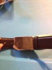 CAlvin Klein Mens Leather Belt BLack Solid Formal Square Silver Buckle Size 36