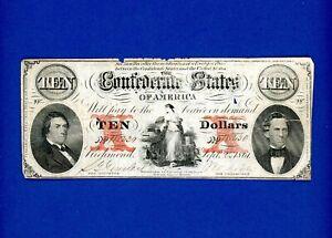 1861 $10 Confederate States of America CRISP HIGH MID GRADE RARE CIVIL WAR NOTE