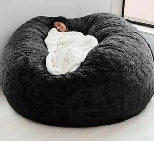 Microsuede Foam Giant Fluffy Bean Bag Cover Memory Living Room Soft Fur Cover