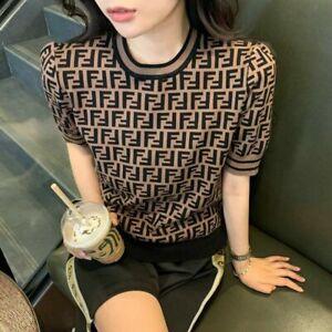 Women Tops Summer T-Shirt Short Sleeve knitting Shirt Loose Casual Blouse O-Neck