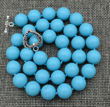 """Wholesale12mm natural Turquoise Necklace Round 18"""" Tibetan silver love clasps"""