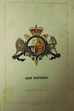 G.BRETAGNA:Stemma Araldico-F.Pagnoni 1863 Orig.Col.Lith