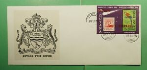 DR WHO 1989 GUYANA FDC SPACE HALLEYS COMET IMPERF S/S OVPT EXPRESS $40 g13423