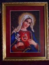 The Holy Heart of Mary Beads Embroidered Icon