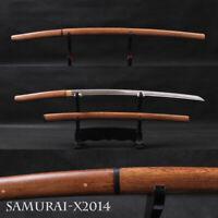 rosewood handle scabbard japanese samurai katana sword carbon steel shiny blade