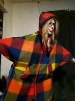 Vintage 1960's Magical Mod Plaid Wool Color Block Cape w/ Hood (One Size)