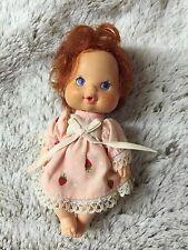 "Vintage 1984 Strawberry Shortcake SSC BERRY BABY 4"" Doll Drinks Wets HTF"