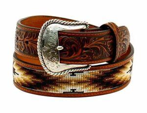 Nocona Western Belt Mens Bead Inlay Bead Southwestern 40 Tan N2499308