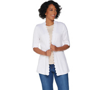 Isaac Mizrahi Live! Open Front Elbow Sleeve Scallop Cardigan, Bright White, M