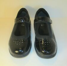 DREW Women's Black Patent Croc Embossed Leather Mary Jane Shoes-Sz-9W