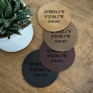Personalised Coaster Genuine Leather coordinates, Wedding 3rd Anniversary Gift