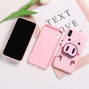 3D Pink Disney Iphone Pig Cover Case With Stand Airbag Socket Pop- Various Model