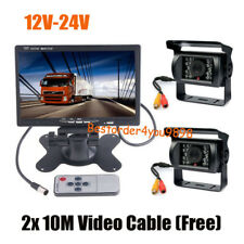 """2x 18 LED IR CCD Reverse Camera + 7"""" LCD Monitor Car Rear View Kit for Bus Truck"""