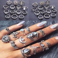 14PCS/set Women Boho Moon & Sun Opal Finger Rings Leaf Flower Midi Knuckle Rings