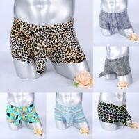 Mens Boxer Briefs ice silk Printed Bulge Pouch Underwear Breathable Underpants