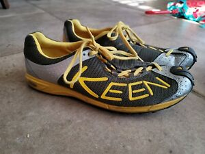 Men's KEEN 12014-BYKE Size 11 - Trail Running Shoes. Yellow. Silver. Green.