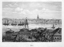 Kiel, Ansicht, Original-Stahlstich von ca. 1870