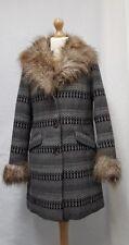 Womens KIMCHI BLUE Coat Size Small Womens Winter Coat Grey Multi-colour Fur Coat