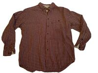 Woolrich Mens Long Sleeve Flannel Shirt L Large Burnt Orange Brown Plaid