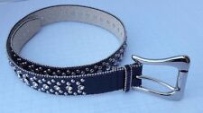GUESS Western Girl Black Bling Swarovski Crystal STUDS Women Belt Silver Buckle