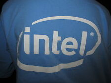 Intel Inside Logo Core 2 Quad Graphic T Shirt Size Medium Blue LAM Systems Inc