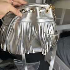 SAINT LAURENT Bucket Bag- Silver Metallic Fringe - Authentic, Gorgeous