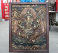"35"" India Wood Lnlay Copper Board Painted Ganapati Elephant God Ganesa Thangka"