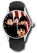 THE BEATLES IN AMERICA VINTAGE WARHOLESQUE FAB FOUR ART COLLECTIBLE WRIST WATCH