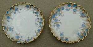 Two Vintage Butter Pat Dishes Blue Flowers with Gold Edge