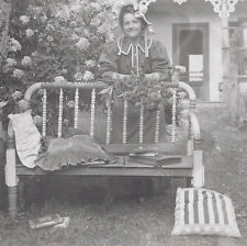 1910s RP POSTCARD EMMA ZEISIG & RE-PURPOSED FOLK ART BED FRAME SITTING BENCH