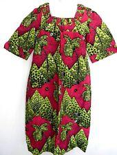 African Wax Print Women Long Dress With Detail Square Neckline & Cuffs Ankara XL