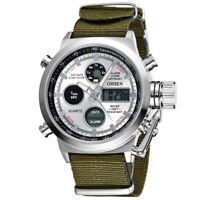 OHSEN Men Watch LED Digital Quartz Dual Time Male Military Nylon Wrist Watches