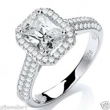 J JAZ - SOLID 925 STERLING SILVER EMERALD CUT SOLITAIRE HALO ENGAGEMENT RING