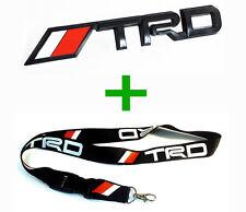 TRD Matte Black Emblem Truck Decal Logo Badge & TRD Lanyard Toyota