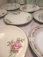 8 - Vintage Mismatched China Dessert Plates Pink Green Boho Wedding  # 146