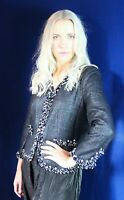 Chic Lux GEORGES RECH Metallic Boucle Tweed Jacket Beaded Embellished Trim UK 14