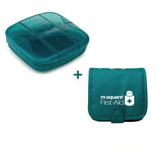 M Square Tablet Pill Storage Box Organizer With Bag Container Holder Case #JP