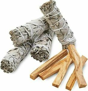 "9 Pack: 4 WHITE SAGE SMUDGE STICKS  4""  +   5 PALO SANTO HOLY WOOD INCENSE STICK"