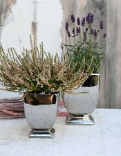 Übertopf SILBER Keramik auf Fuß 3 Varianten Landhaus Shabby Blumentopf Pokal