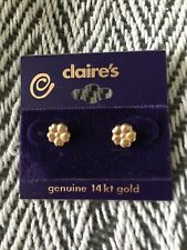 Claire's Genuine 14K Yellow Gold Flower Stud Earrings, BRAND NEW