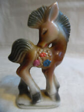 Vintage Ceramic Horse With Flowers Figurine Japan