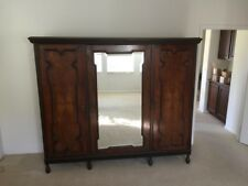 Antique Armoire 3-Section Wardrobe with Center Beveled Mirror