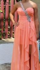 Blush Prom By Alexia Womens Orange Coral Embroidered Strap Evening Prom Dress 2